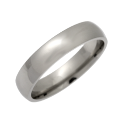 Palladium Light court Shaped Wedding Ring 4mm