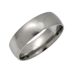 Palladium Light Court Shaped Wedding Ring 6mm