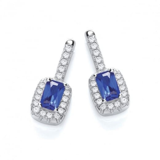 Cherubs Jewellery Pave CZ Earrings With Blue Cubic Zirconia Central Stones