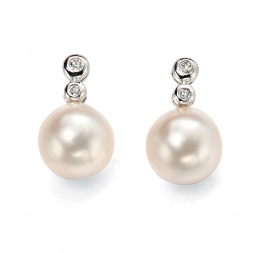 Cherubs Jewellery Pearl Diamond Drop Earrings