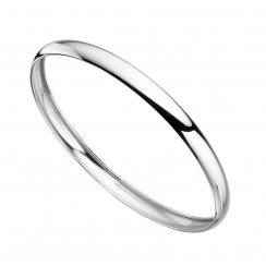 Plain Polished Silver Round Bangle
