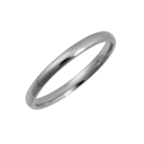 Platinum Court Shaped Wedding Ring 2mm
