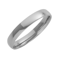 Platinum Court Shaped Wedding Ring 3mm