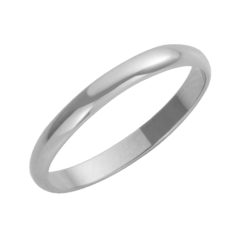 Platinum D-Shaped Wedding Ring 3mm
