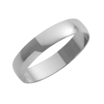 Platinum D-Shaped Wedding Ring 4mm