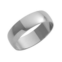 Platinum D-Shaped Wedding Ring 6mm