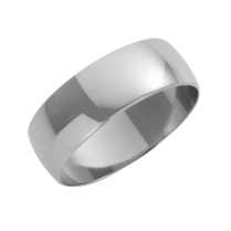 Platinum D-Shaped Wedding Ring 7mm