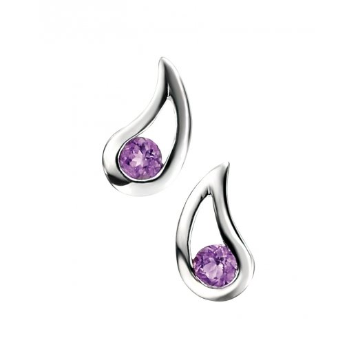Cherubs Jewellery Polished Silver Amethyst Talula Earrings