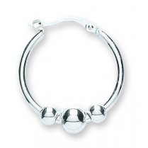 Polished Silver Ball Hoop Earrings For pierced Ears