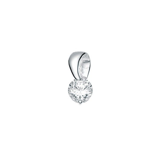 "Cherubs Jewellery Polished Silver CZ Loop Pendant With Adjustable Chian 16-18""/41-46cm"