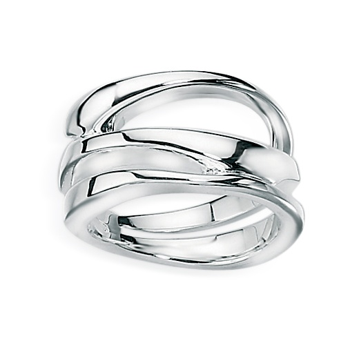 Cherubs Jewellery Polished Silver Dress Ring With An Open Crossover Design