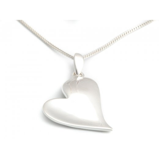 Cherubs Jewellery Polished Silver Heart Pendant With An Adjustable Chain