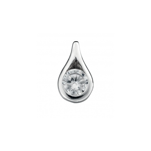 Cherubs Jewellery Polished Silver Teardrop Pendant Set With Cubic Zirconia With Adjustable Chain