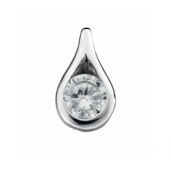 Polished Silver Teardrop Pendant Set With Cubic Zirconia With Adjustable Chain