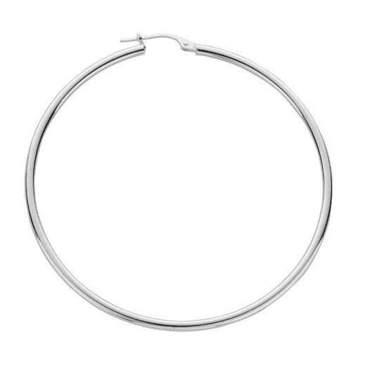 Cherubs Jewellery Polished Silver Thin Hoop Earrings For pierced Ears 5.3cm