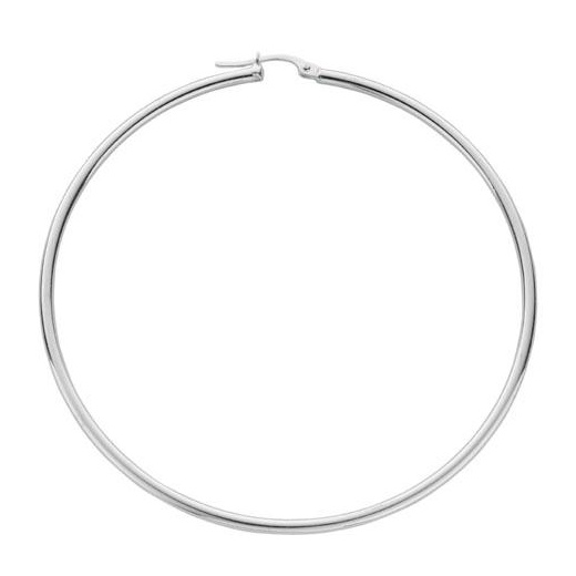 Cherubs Jewellery Polished Silver Thin Hoop Earrings For pierced Ears 6.3cm