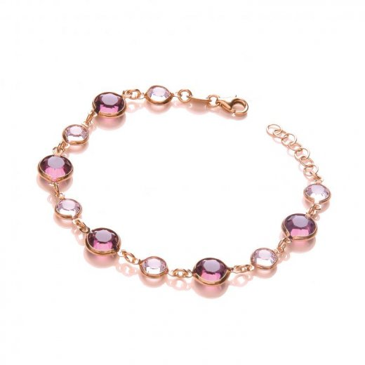 Cherubs Jewellery Rose coated silver bracelet with purple & pink Swarovski crystal elements