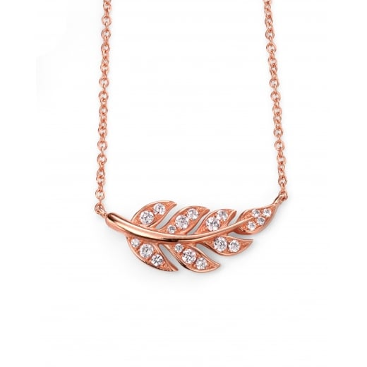 Cherubs Jewellery Rose gold plate clear CZ leaf necklace