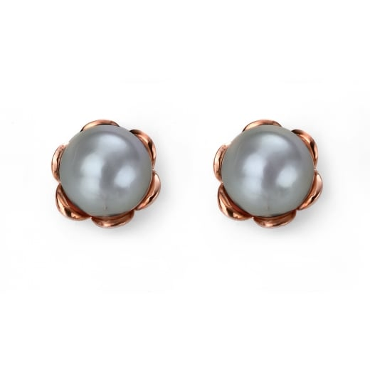 Cherubs Jewellery Rose Gold Plate Grey Freshwater Pearl Earrings with Flower Setting