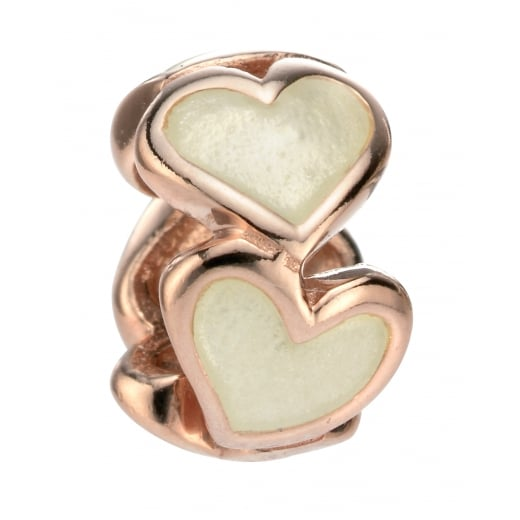Cherubs Jewellery Rose Gold Plated Enamel Heart Bead