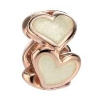 Rose Gold Plated Enamel Heart Bead