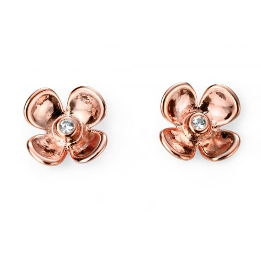 Cherubs Jewellery Rose Gold Plated On Silver Cubic Zirconia Flower Studs
