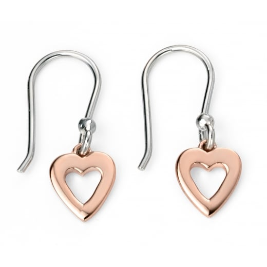 Cherubs Jewellery Rose Gold Plated Open Heart Silver Earrings