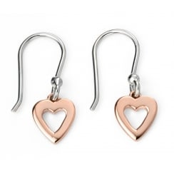 Rose Gold Plated Open Heart Silver Earrings