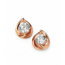 Rose Gold Plated Silver CZ Stud Earrings For Pierced Ears