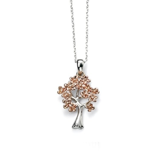 Cherubs Jewellery Rose Gold Plated Silver Tree Shape Pendant