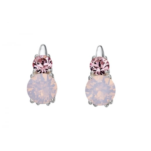 Cherubs Jewellery Rose Water Opal And Light Pink Swarovski Crystal Drop Earrings
