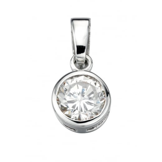 Cherubs Jewellery Round Cubic Zirconia Pendant With Adjustable Chain