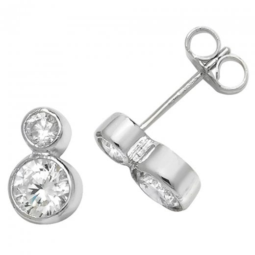 Cherubs Jewellery Round Double CZ Stud Earrings