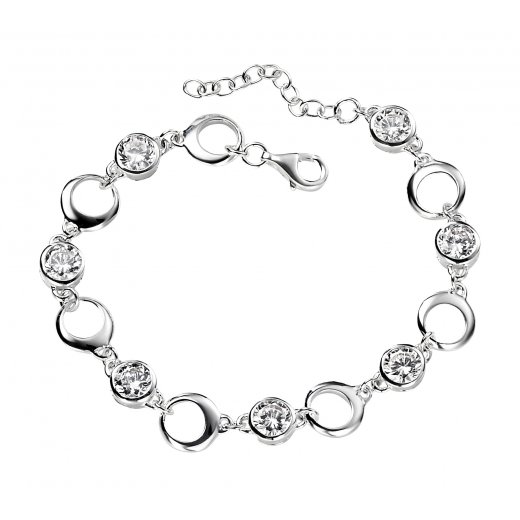 Cherubs Jewellery Round Link Silver CZ Set Bracelet With Extension Chain
