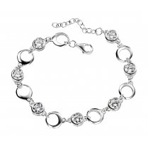 Round Link Silver CZ Set Bracelet With Extension Chain