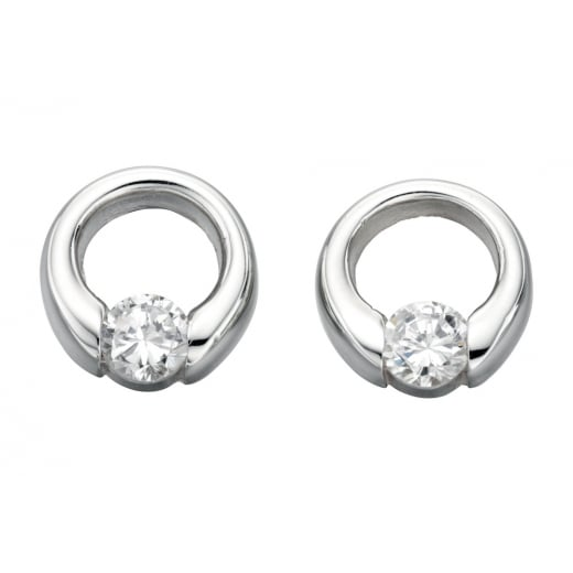 Cherubs Jewellery Round Silver CZ Cody Earrings