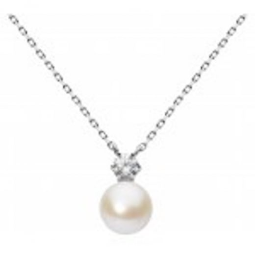 Cherubs Jewellery ROUND WHITE PEARL AND CZ NECKLACE