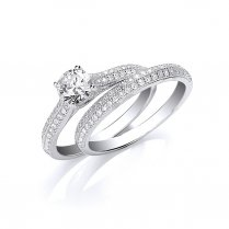 Set Of Two Silver Rings.  CZ Solitaire With Matching CZ Pave Band