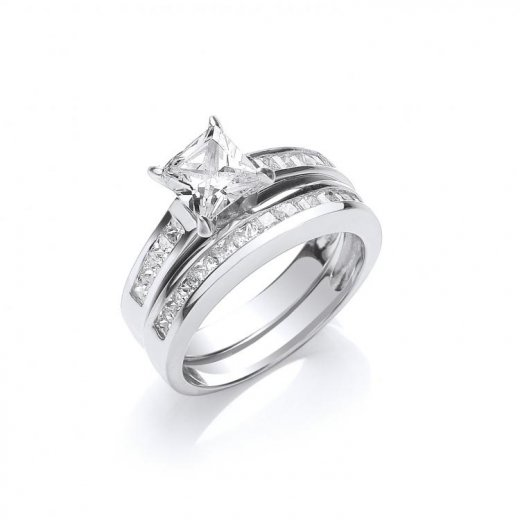 Cherubs Jewellery Set of Two Silver Rings Set With Princess Cut Cubic Zirconia Stones
