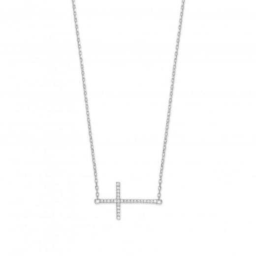 Cherubs Jewellery Sideways Cross Pendant With CZ