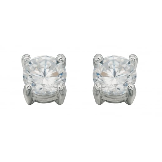 Cherubs Jewellery Silver 5mm CZ Studs For Pierced Ears
