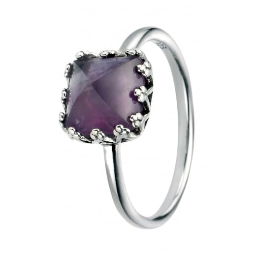 Cherubs Jewellery Silver Amethyst Cushion Cut Ring