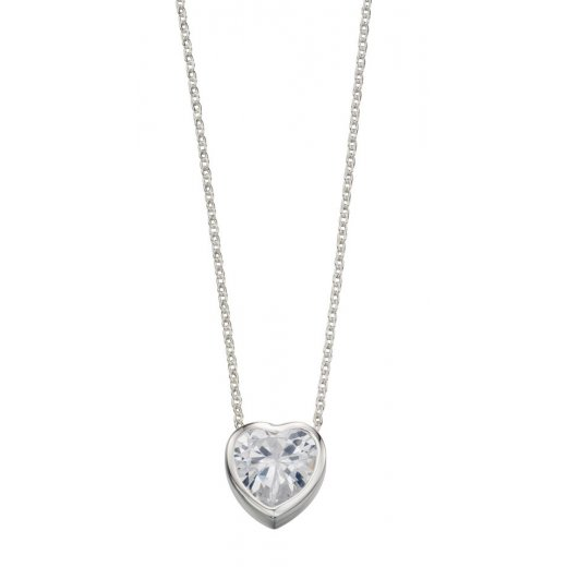 Cherubs Jewellery Silver and CZ heart shaped pendant with 42-44cm adjustable chain