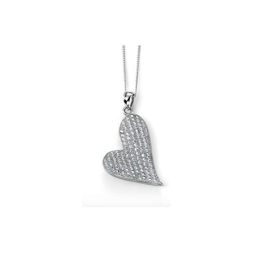 Cherubs Jewellery Silver and CZ pave set heart shaped pendant with 41-46cm adjustable chain
