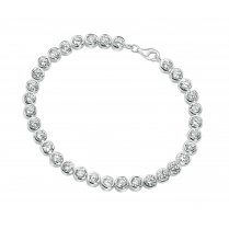 Silver Bracelet Set With CZ Stones Rub Over Setting