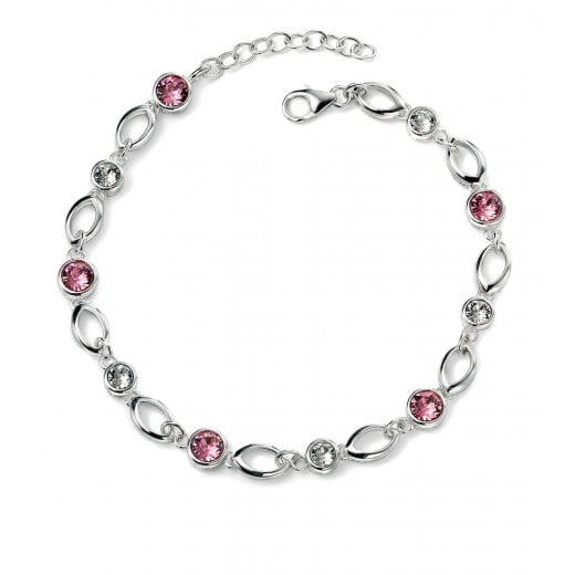 Cherubs Jewellery Silver Bracelet With Pink & Clear Crystals
