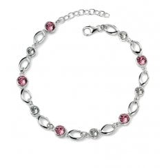 Silver Bracelet With Pink & Clear Crystals