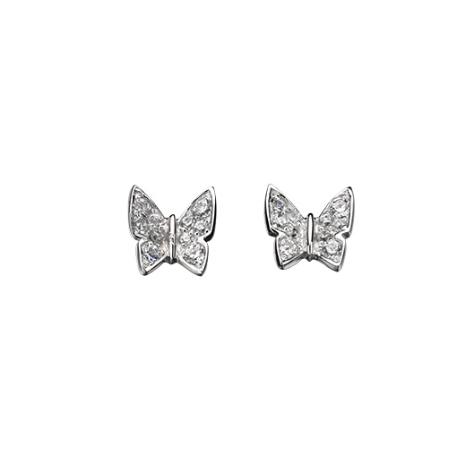 Cherubs Jewellery Silver Butterfly Earrings With CZ Stones
