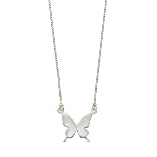Cherubs Jewellery Silver butterfly necklace with adjustable chain 40-42cm