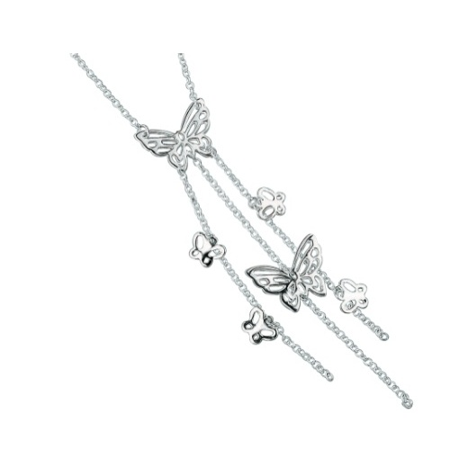 Cherubs Jewellery Silver Butterfly Necklace With Strands